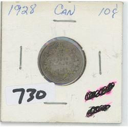 1928- CANADIAN TEN CENTS