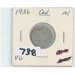 1936- CANADIAN TEN CENTS