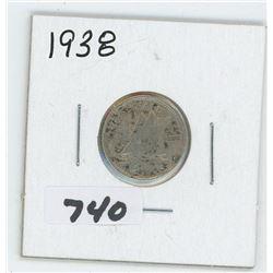 1938- CANADIAN TEN CENTS