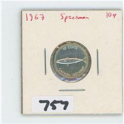1967- CANADIAN TEN CENTS SPECIMEN