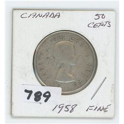 1958 FINE CANADIAN 50 CENTS