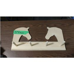 "TWO HORSE HEAD BOARD WITH 4 PEGS (11"" X 22.5"")"