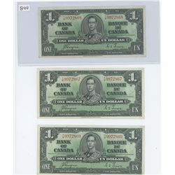 (3) 1937 $1.00 COYNE TOWERS IN SEQUENCE