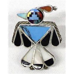 Zuni Sterling Inlay Thunderbird Ring, Size 7.25