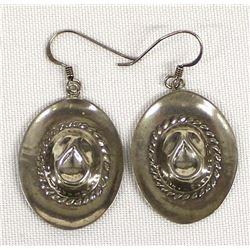 Navajo Sterling Silver Cowboy Hat Earrings