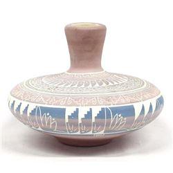 Navajo Carved Ceramic Pottery Vase by Terry Smith