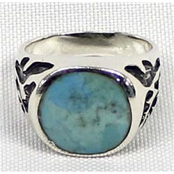 Native American Style Sterling and Larimar Ring