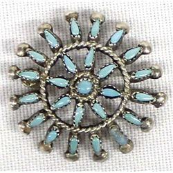 Zuni Sterling Needlepoint Turquoise Pin Pendant