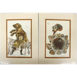 Pair of Matted Alaskan Postcards by Huong