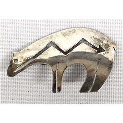 Navajo Sterling Silver Bear Pin by Al Yazzie