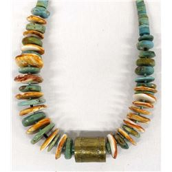 Red Shell, Turquoise, and Brass Bead Choker