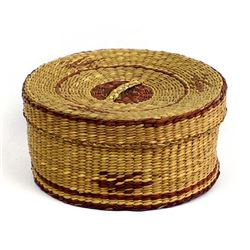 Lidded Ethnic Tightly Woven Basket