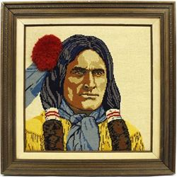 Framed Native American Needlepoint Picture