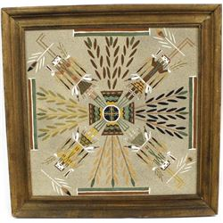 1988 Framed Navajo Water Chant Yei Sand Painting