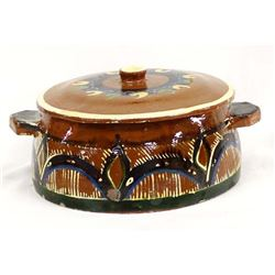 Vintage Mexican Redware Lidded Bowl