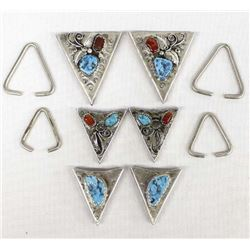 3 Pairs of Navajo Sterling Turquoise Collar Tips