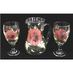 Hand Painted Glass Pitcher & 2 Goblets