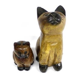 Pair of Carved Wood Cats