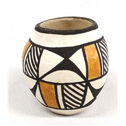 Miniature Acoma Pottery Jar by Leland R. Vallo