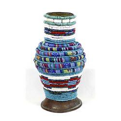 Hand Beaded Copper Vase by Kathy Kills Thunder