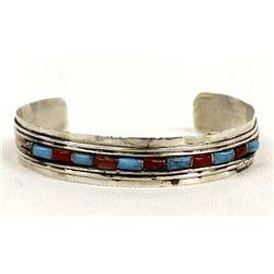 Vintage Navajo Sterling Overlay Cuff Bracelet