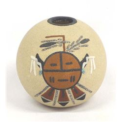 Navajo Sand Painted Pottery Seed Jar by Ben Chapo