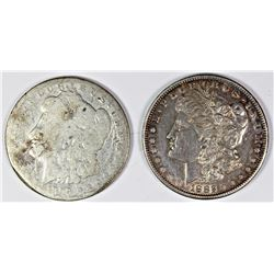 1899 AND 1882-S MORGAN SILVER DOLLARS