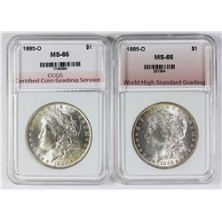 (2) 1885-O MORGAN SILVER DOLLARS
