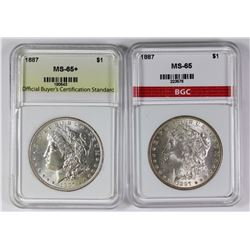 (2) 1887 MORGAN SILVER DOLLARS