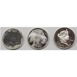 (3) ONE OUNCE SILVER ROUNDS