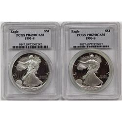 TWO AMERICAN SILVER EAGLES: