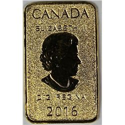 2016 1/10 OZ GOLD BAR ROYAL CANADA MINT