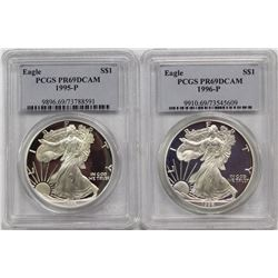 1996-P AND 1995-P AMERICAN SILVER EAGLES