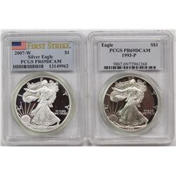 1993-P AND 2007-W AMERICAN SILVER EAGLES