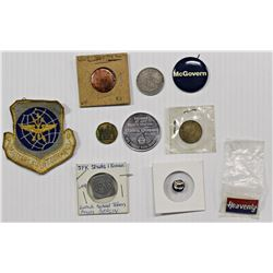 BAG OF COINS, BUTTONS AND TOKENS