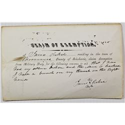CIVIL WAR SOLDIER'S EXEMPTION LETTER