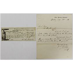 NEW JERSEY ARSENAL CIVIL WAR LETTER & CHECK