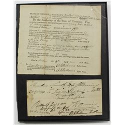 1812 STATE OF VERMONT SHERIFF WARRANT & RECEIPT