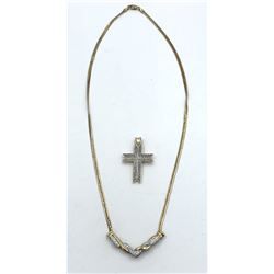 14K GOLD NECKLACE WITH DIAMONDS & CROSS PENDANT