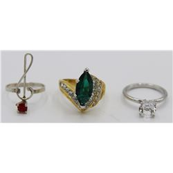 (3) COSTUME JEWELRY RINGS