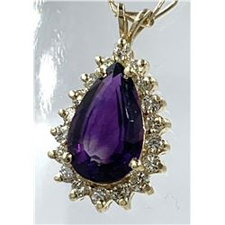 "14KT YELLOW GOLD 20"" CHAIN WITH AMETHYST PENDANT"