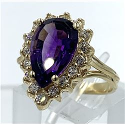 14KT YELLOW GOLD AMETHYST & DIAMOND RING