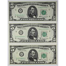 (3) 1963-A $5.00 FEDERAL RESERVE STAR NOTES