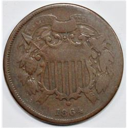 "1864  TWO CENT  PIECE  ""SMALL MOTTO"""