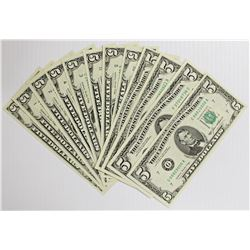 SET OF 12 1985 $5.00 FEDERAL RESERVE NOTES