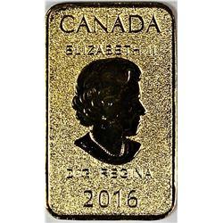 2016 1/10 OZ GOLD BAR ROYAL CANADA MINT