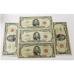 (FIVE) $5.00 STAR NOTES: