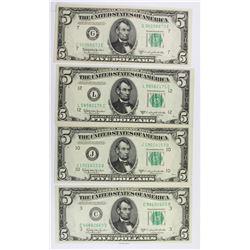 (4) 1950-D $5.00 FEDERAL RESERVE NOTES