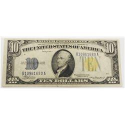 1934-A $10.00 NORTH AFRICA SILVER CERTIFCATE