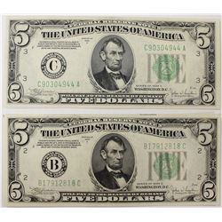 TWO 1934-C $5.00 FEDERAL RESERVE NOTES